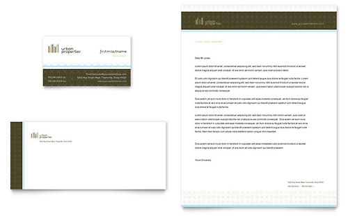 Urban Real Estate Business Card & Letterhead Template Design