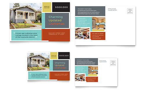 Craftsman Home Postcard Template Design