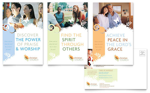 Christian Church Postcard Template Design