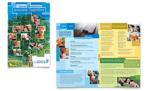 Community church newsletter template design for Church brochure templates free