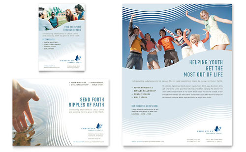 Church marketing brochures flyers newsletters postcards for Church brochure templates free