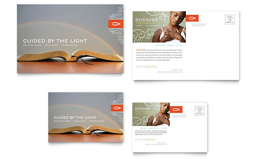 Christian Church Religious Postcard Template Design