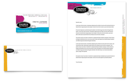 Church Outreach Ministries - Business Card & Letterhead Template Design