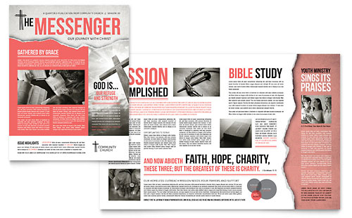 Bible Church Brochure Template - Creative newsletter design templates