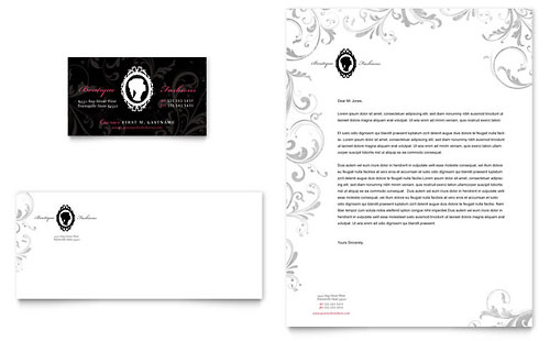 Formal Fashions & Jewelry Boutique Business Card & Letterhead Template Design