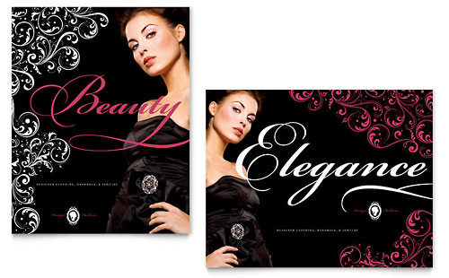 Formal Fashions & Jewelry Boutique Poster Template Design