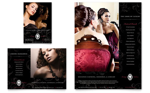 Formal Fashions & Jewelry Boutique Flyer & Ad Template Design
