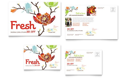 Flower Shop Postcard Template Design