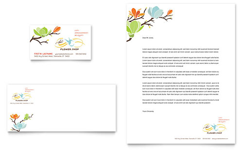 Flower Shop Business Card & Letterhead Template Design