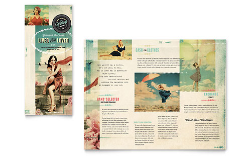 Vintage Clothing Tri Fold Brochure Template Design – Fashion Design Brochure Template