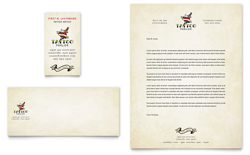 Body Art & Tattoo Artist Business Card & Letterhead Template Design