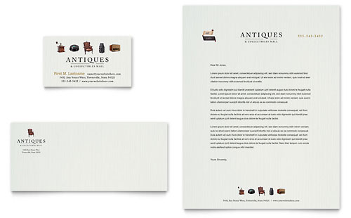 Antique Mall Business Card & Letterhead Template Design