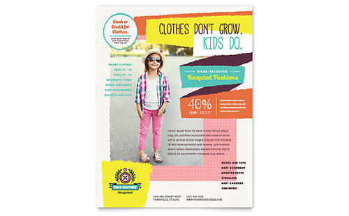 Kids Consignment Shop Flyer Design Template