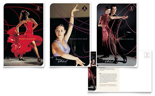 Dance School Postcard Template Design