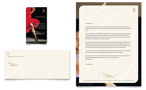 Dance School - Business Card & Letterhead Template Design