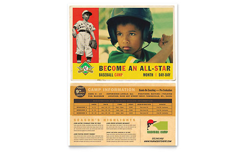 Baseball Sports Camp Flyer Template Design