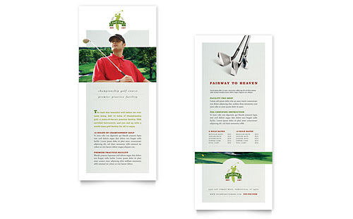 Golf Course & Instruction Rack Card Template Design