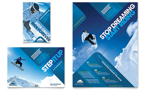Ski & Snowboard Instructor - Flyer & Ad Template Design