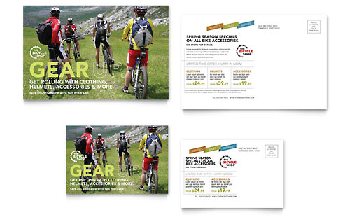 Bike Rentals & Mountain Biking Postcard Template Design