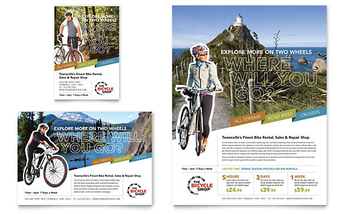 Bike Rentals & Mountain Biking Flyer & Ad Design Template