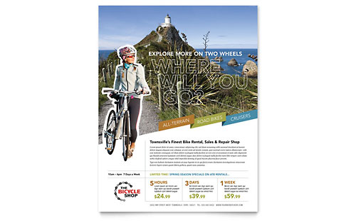 Bike Rentals & Mountain Biking Flyer Template Design