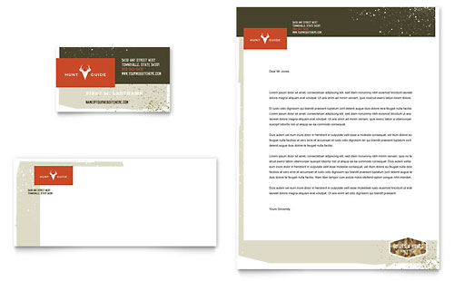 Hunting Guide Business Card & Letterhead Template Design