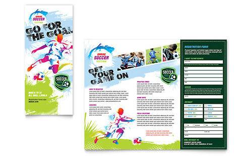 Youth Soccer - Tri Fold Brochure Template Design
