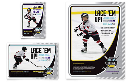 Junior Hockey Camp Flyer & Ad Template Design