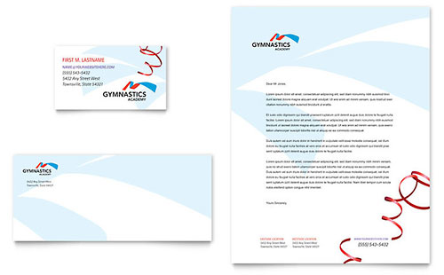 Gymnastics Academy Business Card & Letterhead Template Design