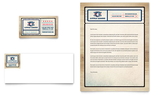 Baseball League Business Card & Letterhead Template Design