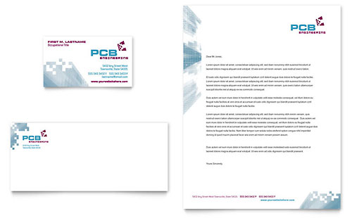 High-Tech Manufacturing Business Card & Letterhead Template Design