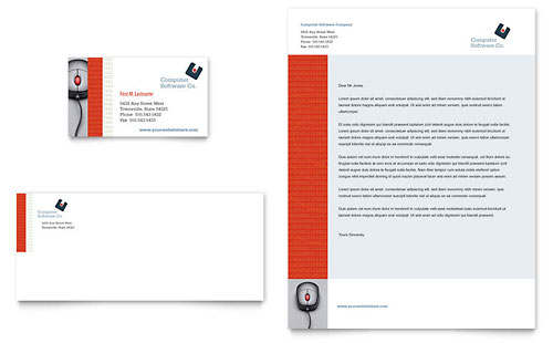 Computer Software Company Business Card & Letterhead Template Design