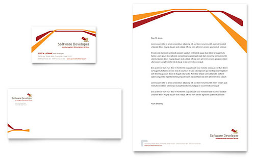 Software Developer Business Card & Letterhead Template Design