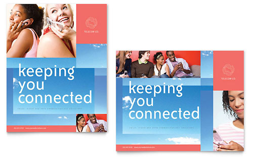 Communications Company Poster Template Design