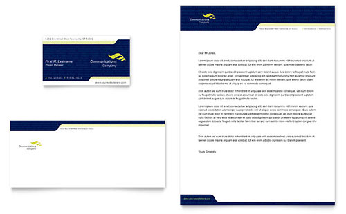 Global Communications Company Business Card & Letterhead Template Design