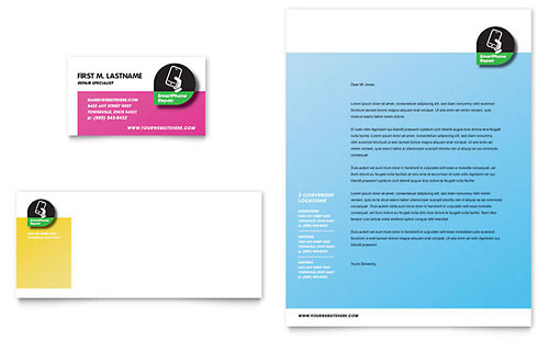Smartphone Repair Business Card & Letterhead Template Design