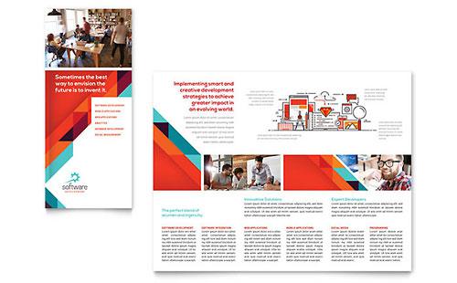 Application Software Developer Tri Fold Brochure Template Design