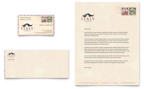 Italy Travel - Business Card & Letterhead Template Design