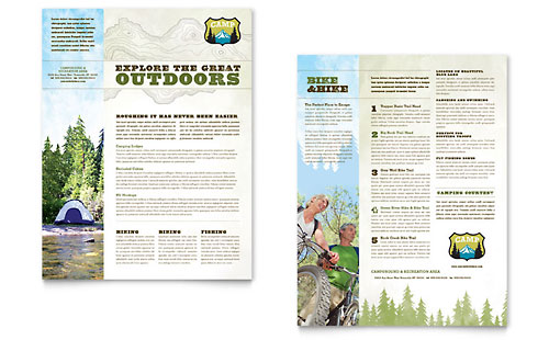 Nature Camping & Hiking Datasheet Template Design