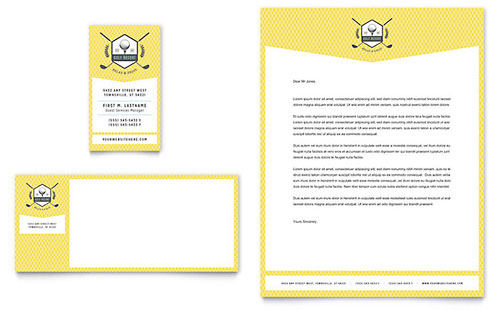 Golf Resort Business Card & Letterhead Template Design