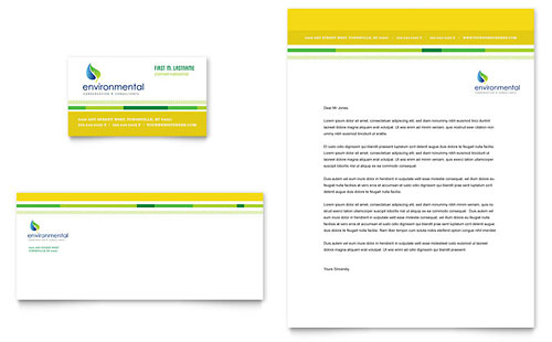 Environmental Conservation Business Card & Letterhead Template Design