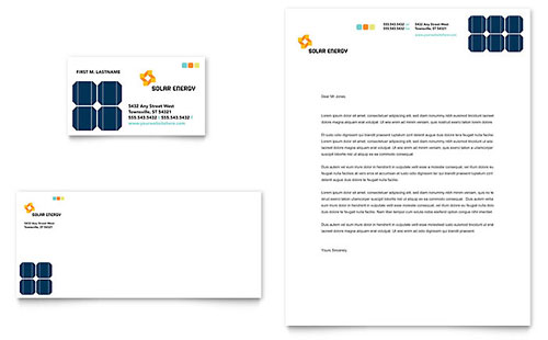 Solar Energy Business Card & Letterhead Template Design