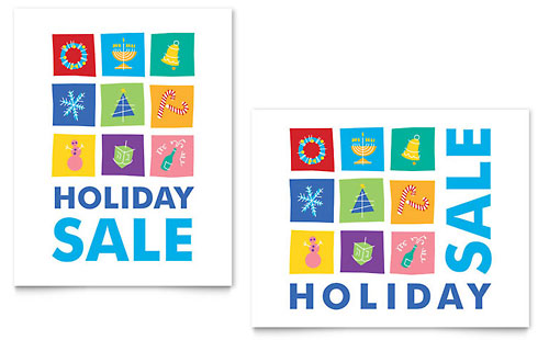 Holiday Icons Sale Poster Design Template