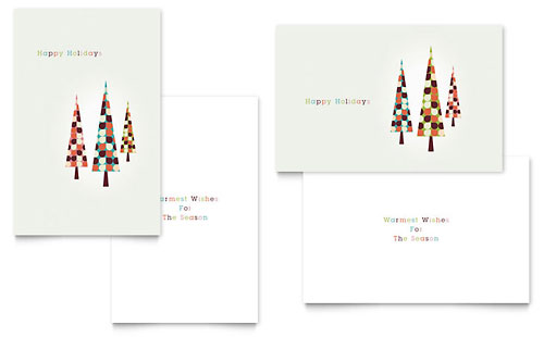 Modern Holiday Trees - Greeting Card Template Design