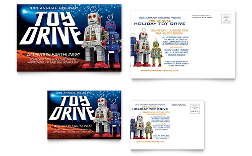 Holiday Toy Drive Fundraiser Postcard Template Design