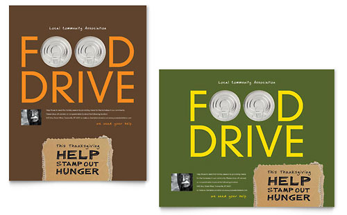 Holiday Food Drive Fundraiser Poster Template Design