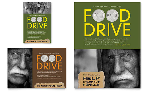 Holiday Food Drive Fundraiser - Flyer & Ad Template Design