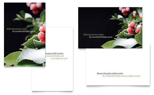 Holly Leaves Greeting Card Template Design