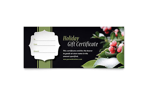 Holly Leaves Gift Certificate Template Design