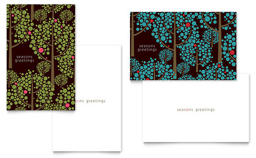 Stylish Holiday Trees - Greeting Card Template Design